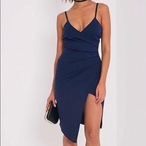 NWOT NAVY BLUE WRAP DRESS | SIZE S-XS